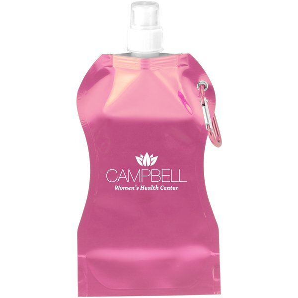 Hourglass Pink Collapsible Water Bottle, 16.9oz.