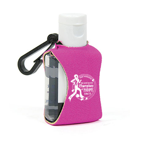 Gel Sanitizer w/ Pink Neoprene Sleeve, .5oz.