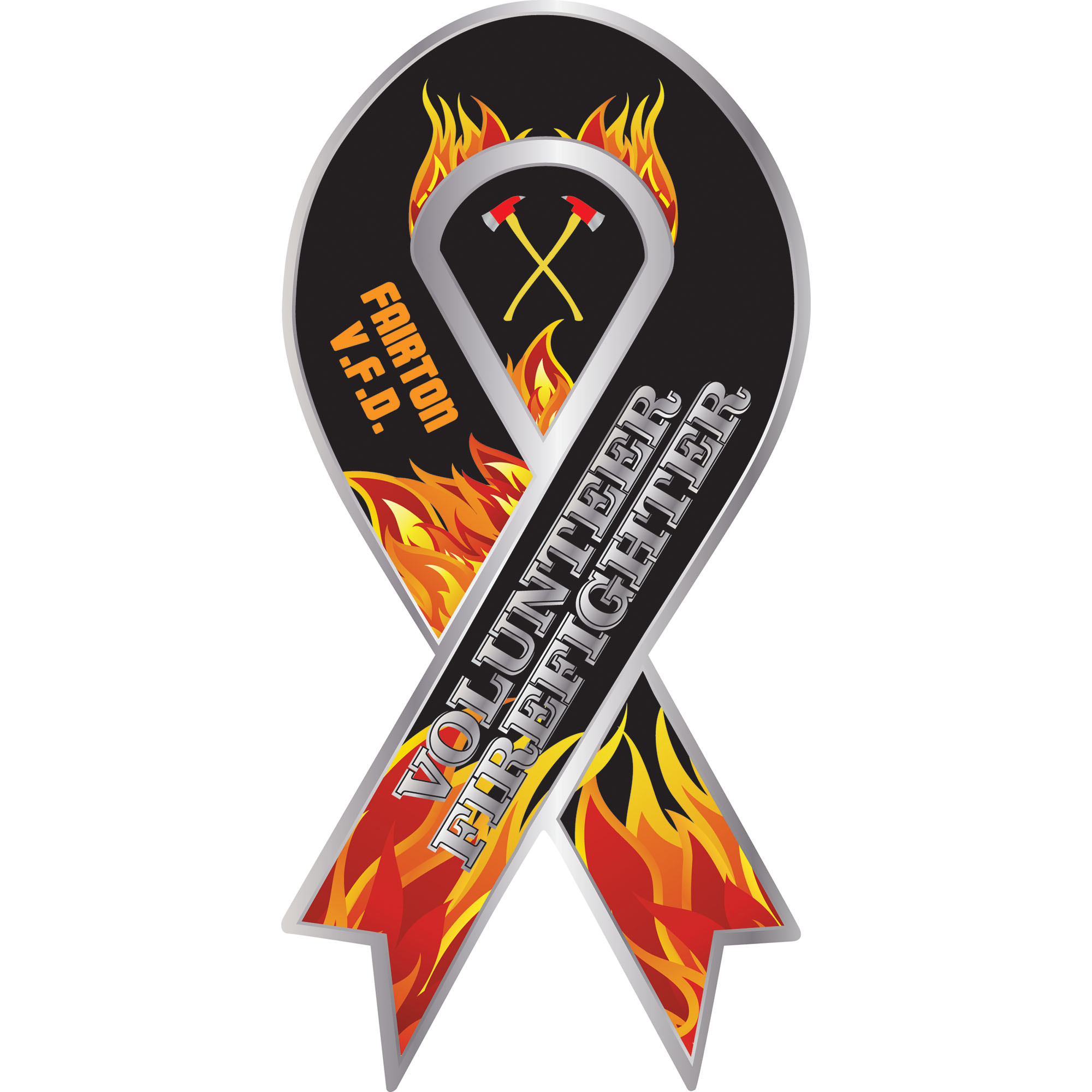 Volunteer Firefighter Full Color Ribbon Auto Magnet