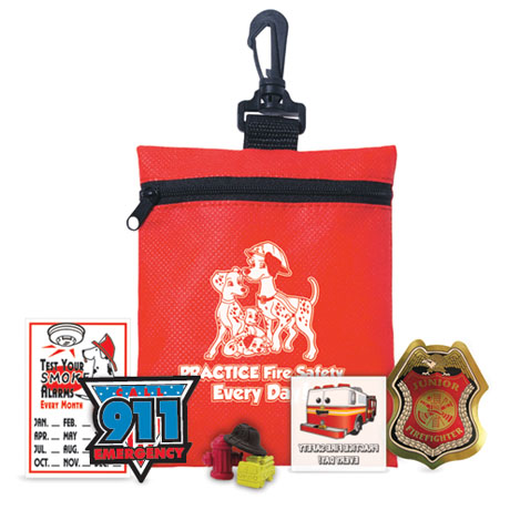 Practice Fire Safety Every Day Zippered Clip Pouch Kit, Stock