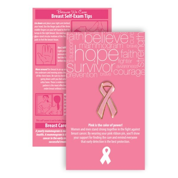 Pink Ribbon Pin on Affirmation Word Cloud Card, Stock