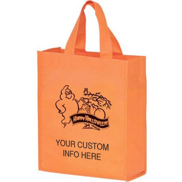 "Halloween Non-Woven Mini Tote Bag w/ Ghost Graphic, 8"" x 10"""
