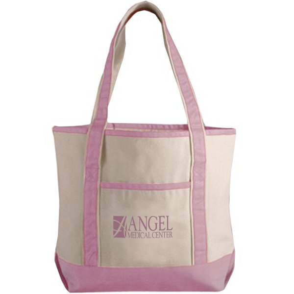 Pink Classic Cotton Canvas Boat Tote