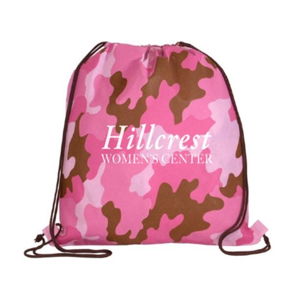 Pink Camo Non-Woven Drawstring Backpack