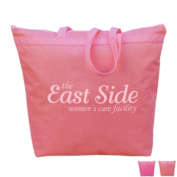 Pink Zip Up Polycanvas Tote
