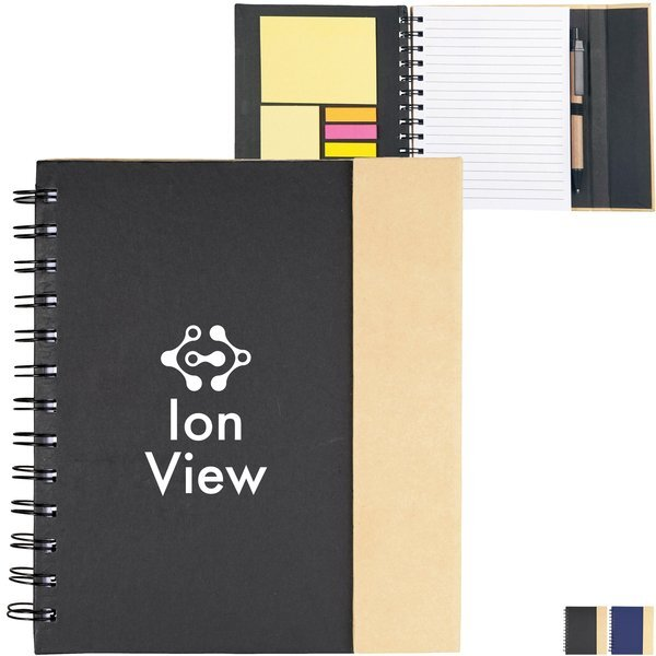 "Lock It Spiral Notebook w/ Sticky Pads & Pen, 7"" x 6-1/2"""