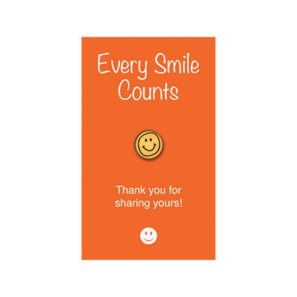 "Smiley Face Lapel Pin on ""Every Smile Counts"" Appreciation Card, Stock"