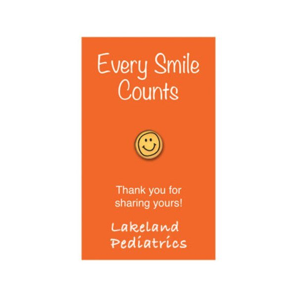 Smiley Face Lapel Pin on Custom Card