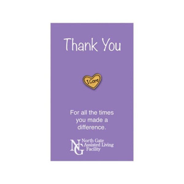 I Care Lapel Pin on Custom Card