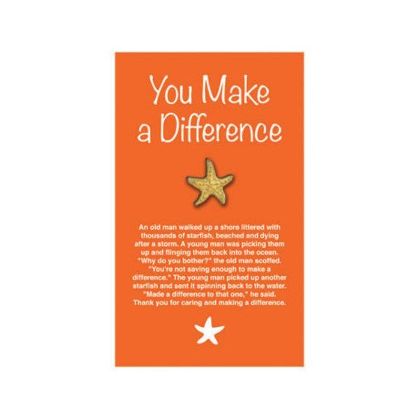 """Starfish Lapel Pin on """"You Make a Difference"""" Appreciation Card, Stock"""