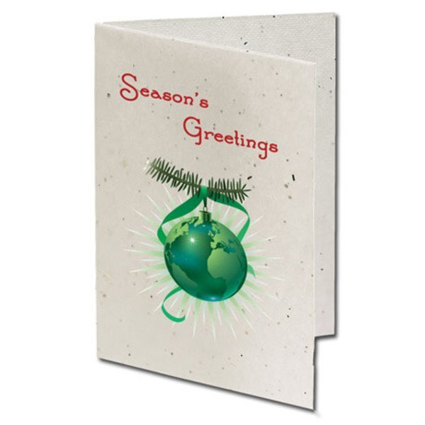 Season's Greetings Ornament Seeded Paper Holiday Card