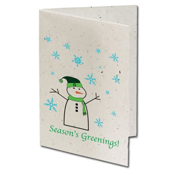 Season's Greenings Snowman Seeded Paper Holiday Card