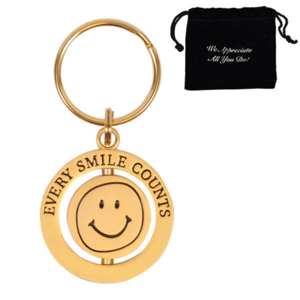 Every Smile Counts - Gold, Appreciation Swivel Keychain, Stock