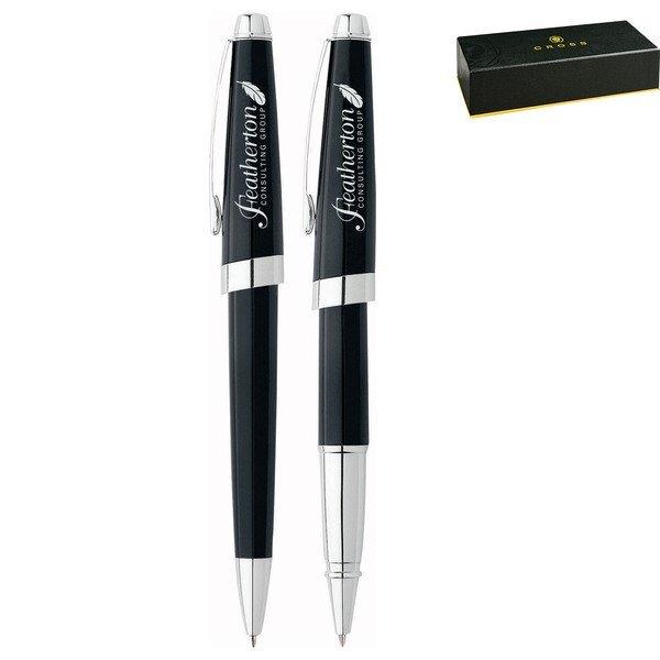 Cross® Aventura Onyx Black Ballpoint & Rollerball Gift Pen Set