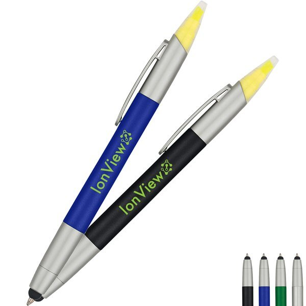 Three-in-One Retractable Pen, Highlighter & Stylus