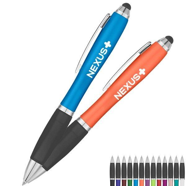 Satin Retractable Stylus Colorful Barrel Pen