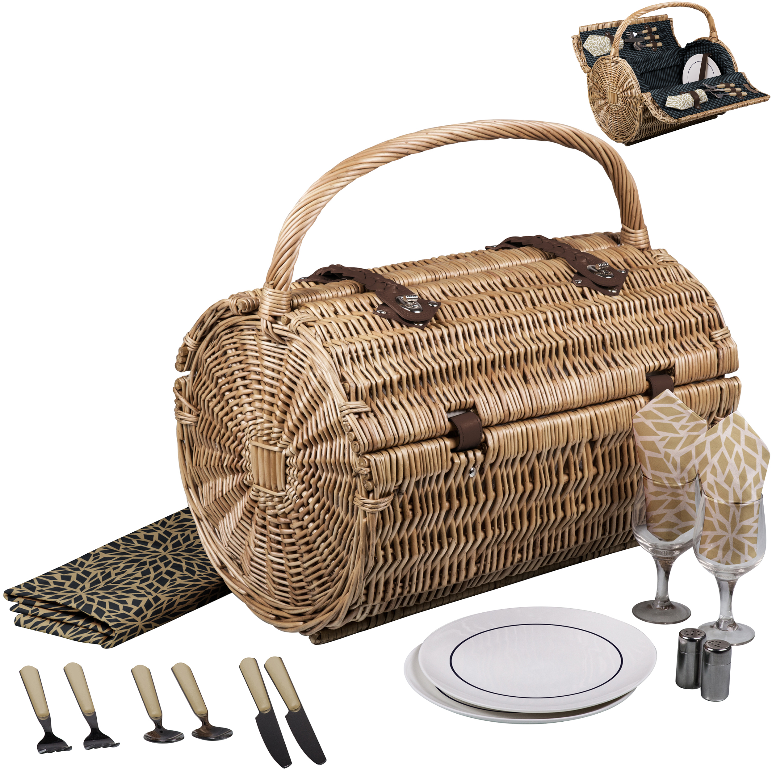 Barrel Picnic Basket Set - Dahlia