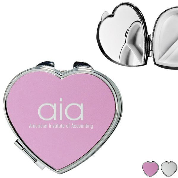 Heart Shaped Pill Box w/ Mirror, Two Compartment