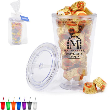 Double Wall Acrylic Tumbler Gift Set w/ Reese's Peanut Butter Cups, 16oz.
