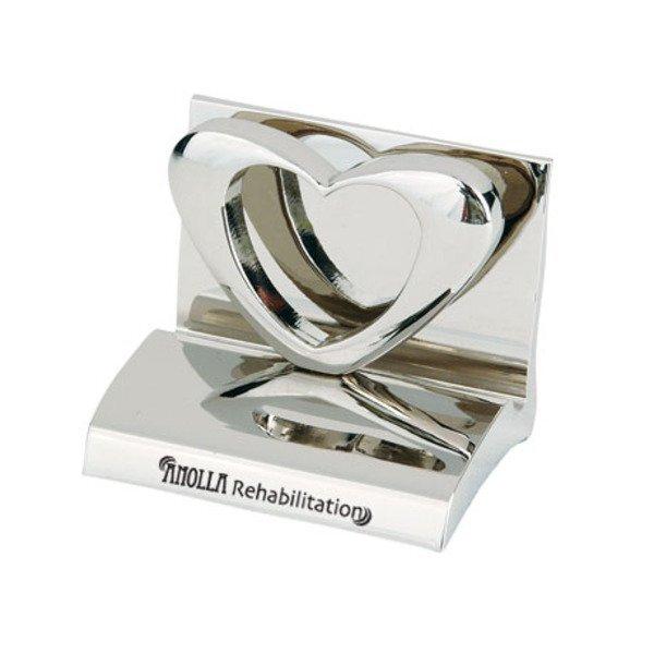 Chrome Metal Business Card Holder, Heart