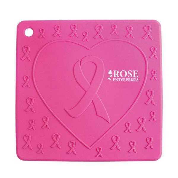 Pink Ribbon Silicone Trivet
