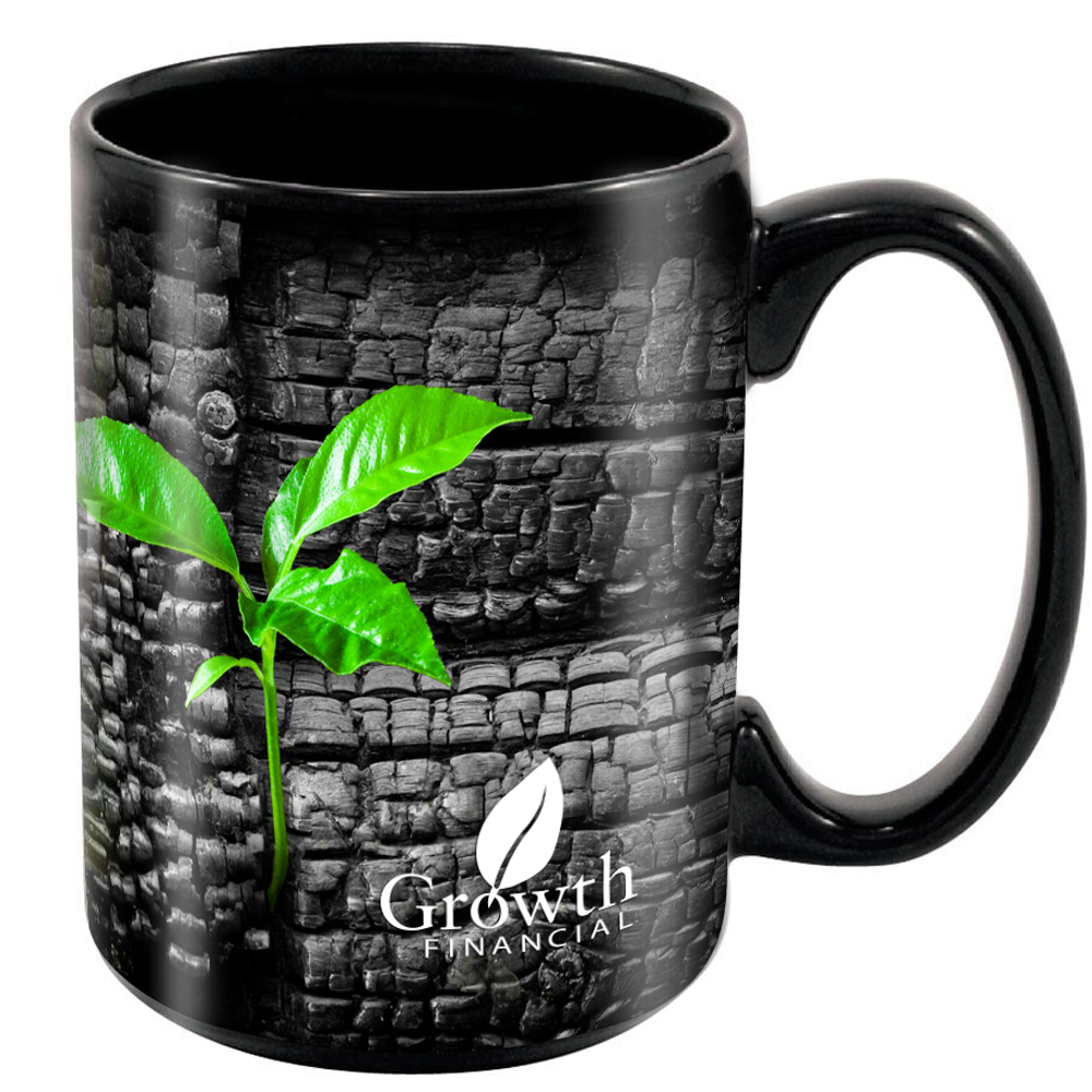 Black Stoneware Magna Mug, 15oz. w/ Full Color Imprint