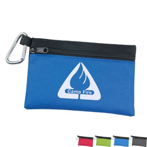 Two-tone Polyester Zip Pouch with Carabiner