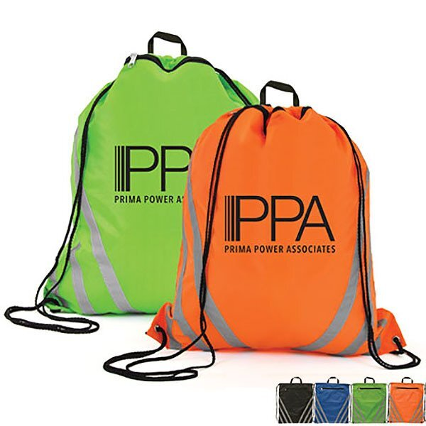 Reflective 210D Polyester Drawstring Backpack