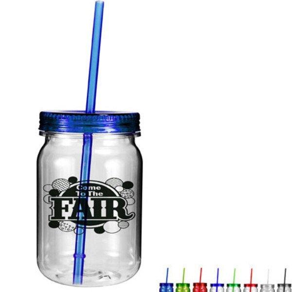 Plastic Mason Jar Tumbler, 24oz.