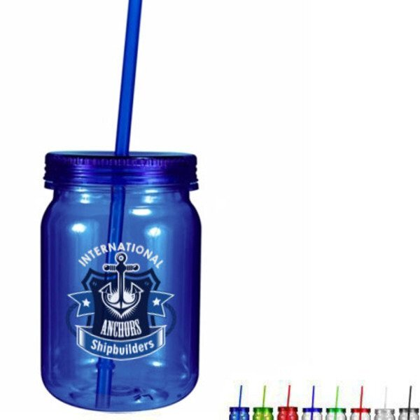 Plastic Mason Jar Tumbler, 24oz. w/ Full Color Imprint