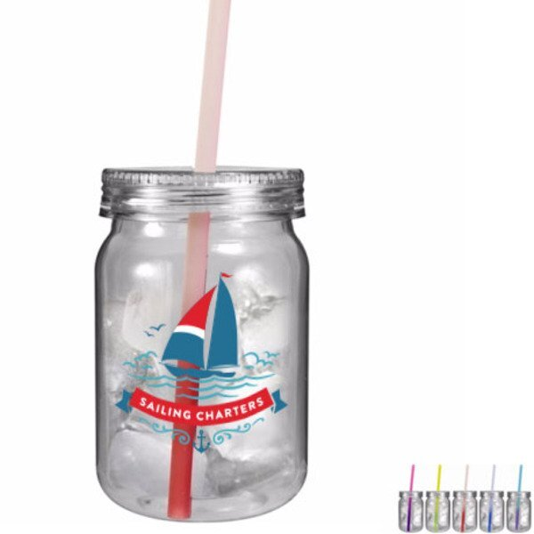 Plastic Mason Jar w/ Mood Color Changing Straw, 24oz. w/ Full Color Imprint