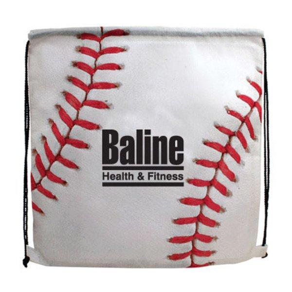 Baseball Style 210D Polyester Drawstring Backpack