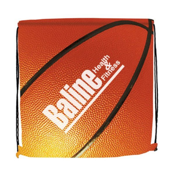 Basketball Style 210D Polyester Drawstring Backpack