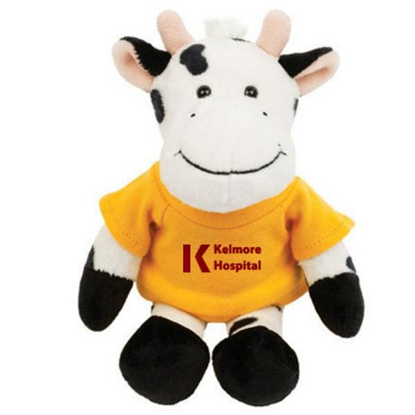 Black/White Cow Plush Mascot, 8""