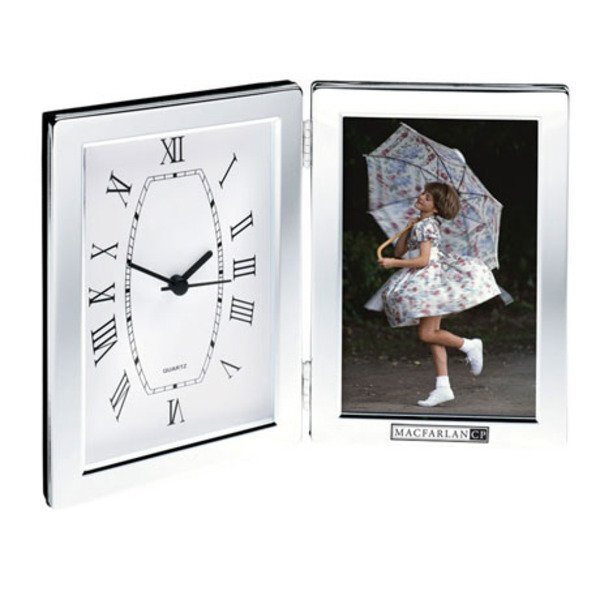 Shiny Silver Desk Clock & Photo Frame