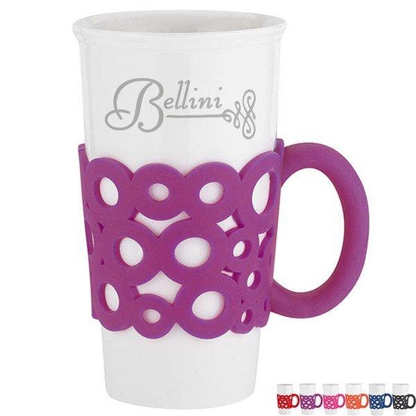 Lacey Ceramic Mug w/ Silicone Grip, 16oz.