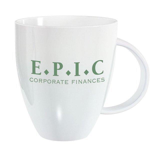 Lustre Ceramic Bistro Mug, 18oz.- White