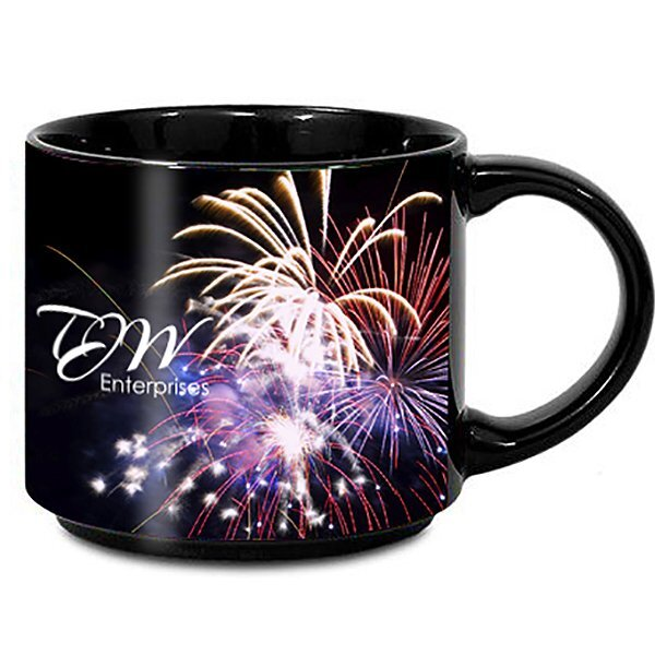 Metro Black Ceramic Mug, 14oz. w/ Full Color Imprint