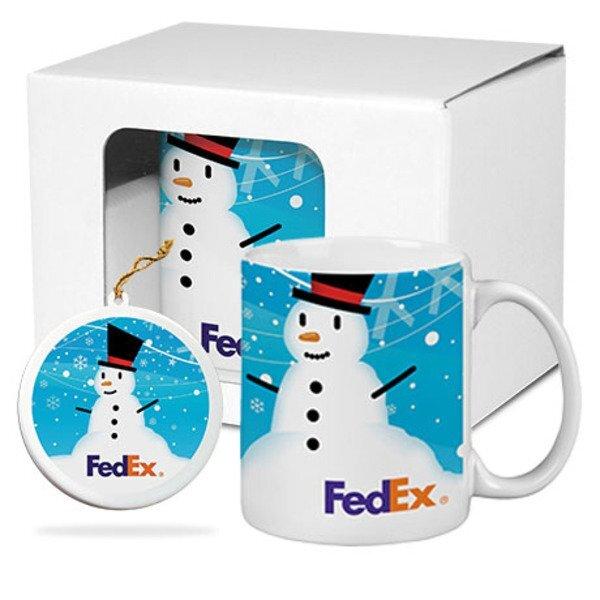 Ceramic Mug & Ornament Gift Set w/ Full Color Imprint