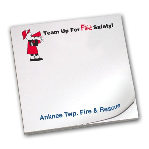 Team Up For Fire Safety, 25 Sheet Sticky Pad