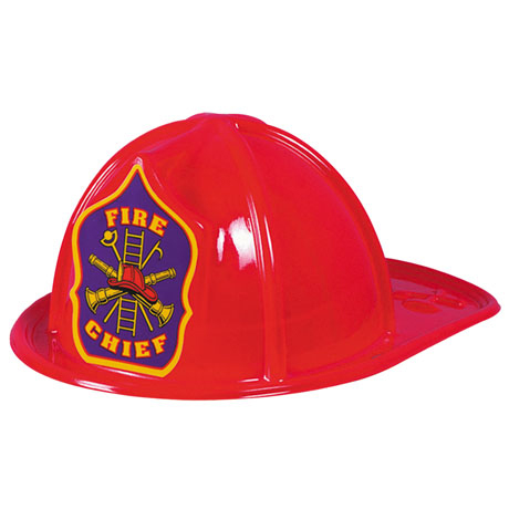Classic Kid's Fire Chief Hat Red, Stock - Closeout, While Supplies Last!