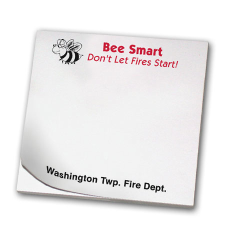 Bee Smart Don't Let Fires Start, 25 Sheet Sticky Pad
