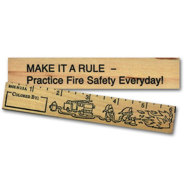 "Fire Safety Color Me Ruler - 6"", Stock"