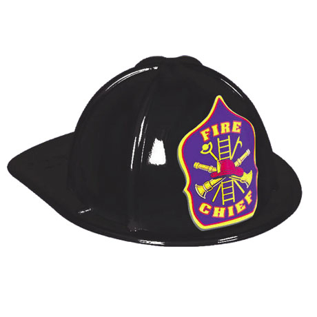 Classic Kid's Fire Chief Hat Black, Stock - Closeout, While Supplies Last!