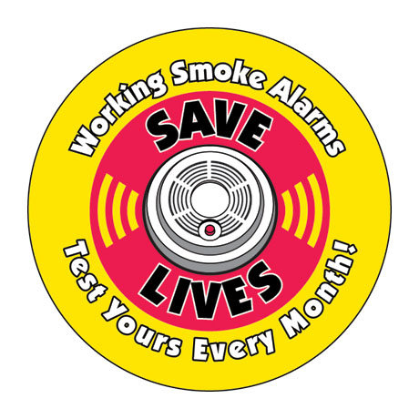 Working Smoke Alarms Save Lives Sticker Roll, Stock