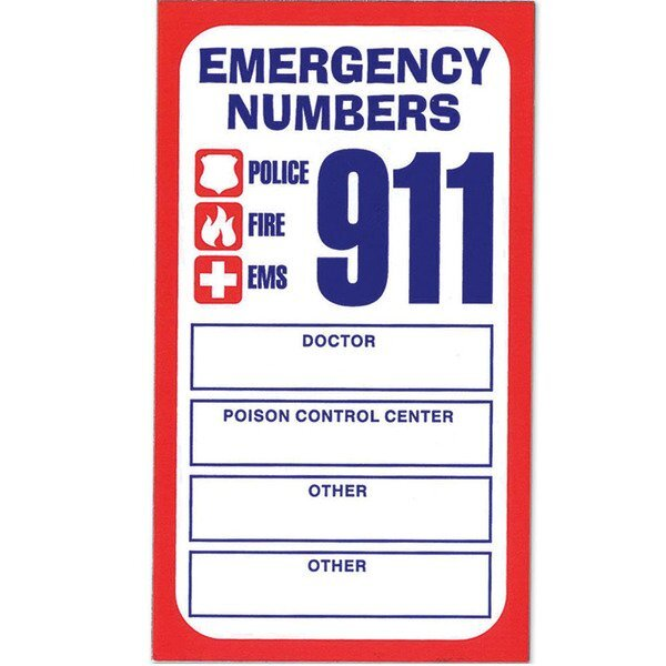 Stock Business Card Magnet, Emergency Numbers