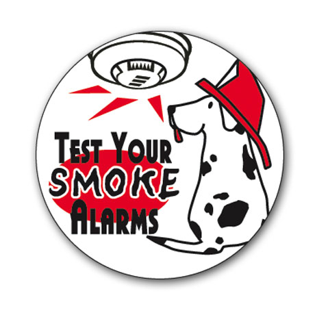 Test Your Smoke Alarms Sticker Roll, Stock