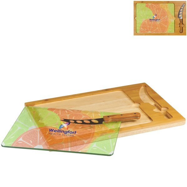 Icon Cheese Board Set w/ Full Color Imprint