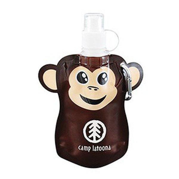 Paws N Claws Flat Water Bottle, 12oz. - Monkey