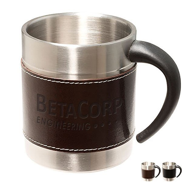 Empire™ Leather-Stainless Coffee Cup, 10oz.